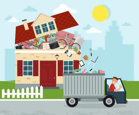 Ilustración de The concept of excessive consumerism. House bursting of stuff. Throwing away things from house. Junk removal. Vector illustration. - Imagen libre de derechos