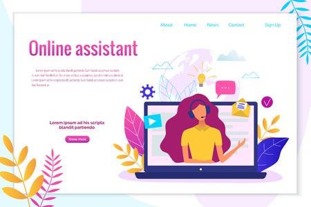 Illustrazione per Customer service, hotline operator for web page, banner, presentation, social media concept. - Immagini Royalty Free