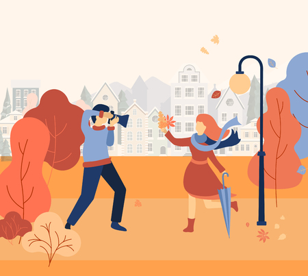 Illustration pour People walk and make photos in autumn park. Photographer and model. Golden autumn cityscape. Flat style design. Vector background. - image libre de droit