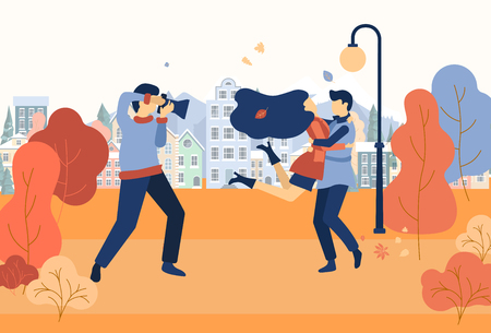 Illustration pour Enamored couple walk and make photos in autumn park. Photographer and models. Golden autumn cityscape. Flat style design. Vector background. - image libre de droit