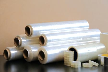Foto de Packaging materials: stretch film, adhesive tape, paint tape. - Imagen libre de derechos