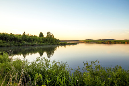 Photo for Summer sunny landscape. Morning, dawn on the lake. Saratov Region, Russia. - Royalty Free Image