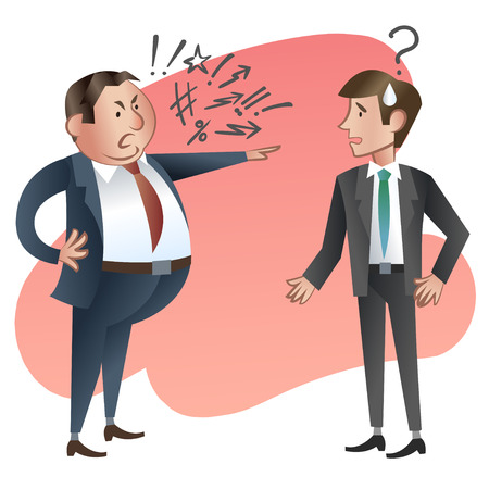 Illustrazione per Angry boss with employee.  - Immagini Royalty Free