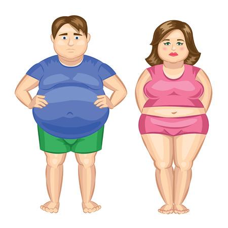 Ilustración de Fat woman and fat man. Vector illustration - Imagen libre de derechos