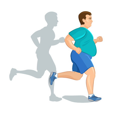 Illustrazione per Illustration of a fat cartoon man jogging, weight loss concept, cardio training, health conscious concept running man, before and after - Immagini Royalty Free
