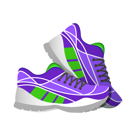 Illustration pour Violet sport sneakers, modern illustrations in flat style. Vector illustration - image libre de droit