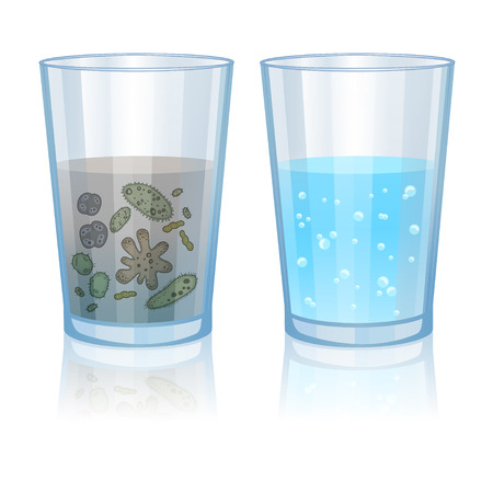 Illustration for Glass with clean and dirty water, infection illustration. Vector illustration - Royalty Free Image