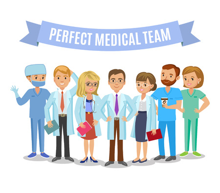 Illustrazione per Medical team. Set of hospital medical staff. Doctors, nurses and surgeon. Healthcare and medical concept. Vector Illustration - Immagini Royalty Free