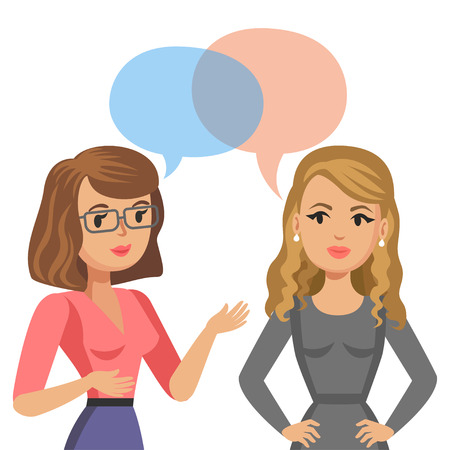 Illustration pour Two young women talking. Meeting colleagues or friends. Gossip girls. Vector illustration - image libre de droit