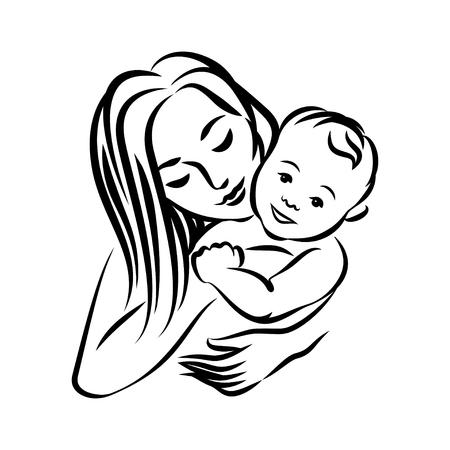 Ilustración de Mother with her baby - Imagen libre de derechos