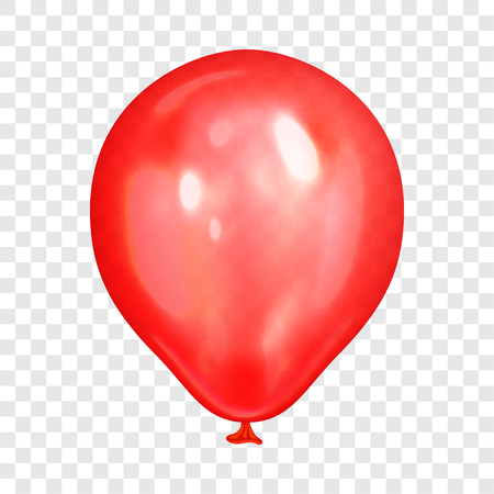 Illustration pour Realistic red balloon, isolated on transparent background. Balloon for birthday party, celebration, festival. Flying glossy balloon. Holiday vector Illustration - image libre de droit