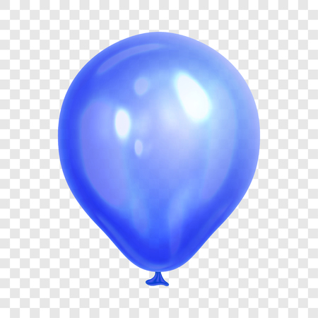 Illustration pour Realistic blue balloon, isolated on transparent background. Balloon for birthday party, celebration, festival. Flying glossy balloon. Holiday vector Illustration - image libre de droit