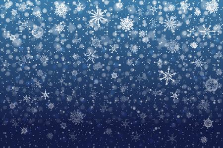 Illustration pour Christmas snow. Falling snowflakes on deep blue background. Snowfall. Vector illustration, eps 10 - image libre de droit