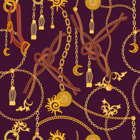 Ilustración de Seamless vector pattern with leather cords, straps, golden chains and jewelry elements. Women's fashon collection. - Imagen libre de derechos