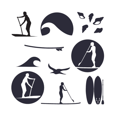 Illustration pour illustration of stand up paddling silhouette icon set in flat design style - image libre de droit