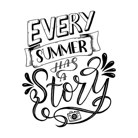 Ilustración de Vector illustration Brush lettering composition of Summer quotes on white background. Summer lettering for cards, posters, prints and more - Imagen libre de derechos