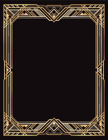 Ilustración de Rectangular golden and black retro frame, art deco style of 1920s. - Imagen libre de derechos
