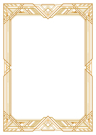 Illustration for Rectangular golden retro frame, art deco style of 1920s. Transparent background. A3 page proportions. - Royalty Free Image