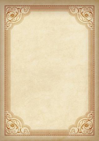 Foto de Template, background with a framework on a piece of parchment. A3 page proportions. - Imagen libre de derechos