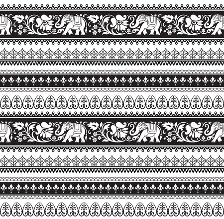 Illustration pour Seamless black and white pattern with included pattern brushes. Vector illustration. - image libre de droit