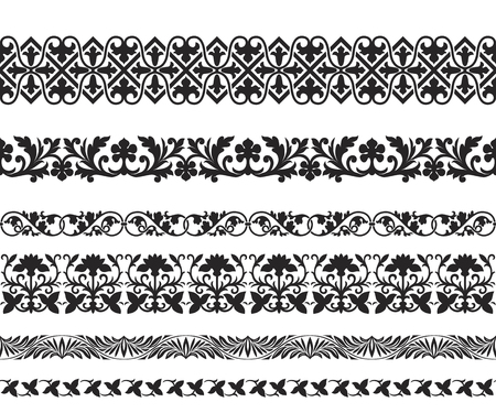 Illustration pour Set of black seamless floral ornaments. Byzantine, Arabic, Muslin, East style. Pattern brushes are included. - image libre de droit