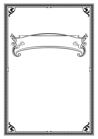Illustrazione per Black ornate frame. A4, A3 page size. Banner for headline. - Immagini Royalty Free