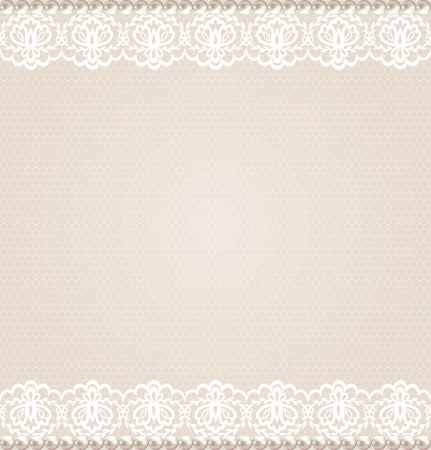 Illustration for Wedding, invitation or greeting card with lace floral border on net background - Royalty Free Image