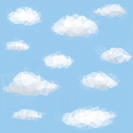 Ilustración de Polygon triangle background with sky and cloud - Imagen libre de derechos