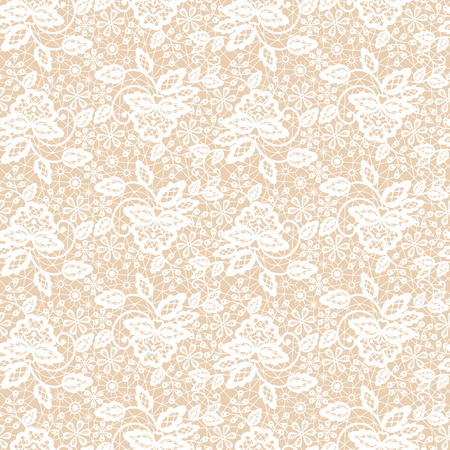 Illustration pour Seamless white lace pattern on beige background - image libre de droit