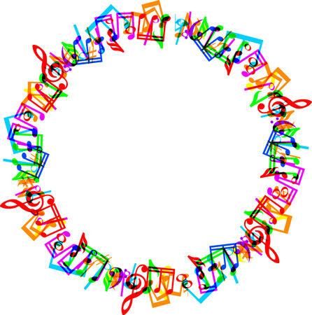 Illustration pour Colorful music notes border frame on white background - image libre de droit
