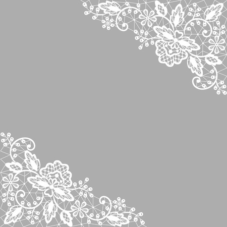 Illustration pour Wedding invitation or greeting card with white lace on gray background - image libre de droit