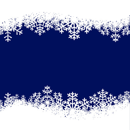Illustration for Christmas card with snowflakes border on blue background - Royalty Free Image