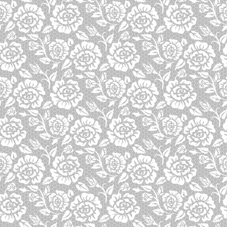 Illustration for Seamless white lace background with roses pattern - Royalty Free Image