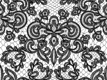 Illustration pour Seamless black lace background with floral pattern - image libre de droit