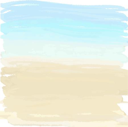 Illustration pour Watercolor summer illustration of sand and ocean - image libre de droit