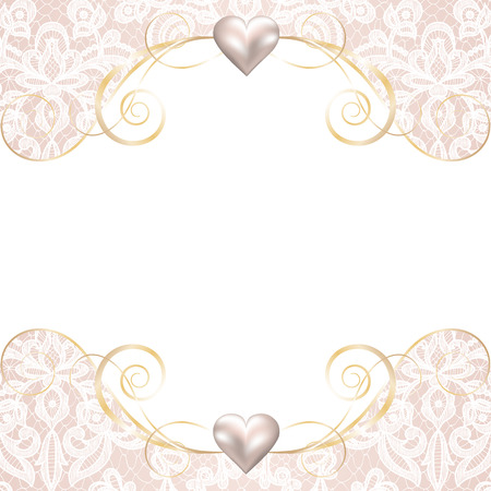 Foto de Wedding invitation or greeting card with pearl frame on lace background - Imagen libre de derechos