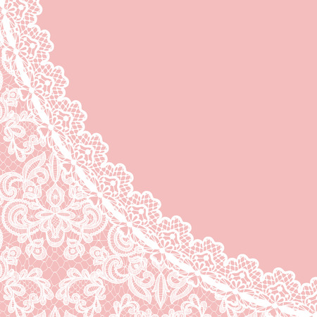 Illustration pour Wedding invitation or greeting card with lace border on pink background - image libre de droit