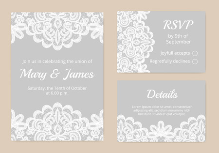 Illustration pour Templates of invitation lace cards for wedding - image libre de droit