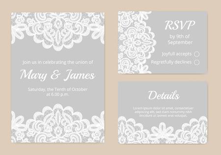 Photo pour Templates of invitation lace cards for wedding - image libre de droit