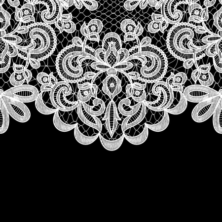 Illustration for Wedding invitation or greeting card with lace border on black background - Royalty Free Image