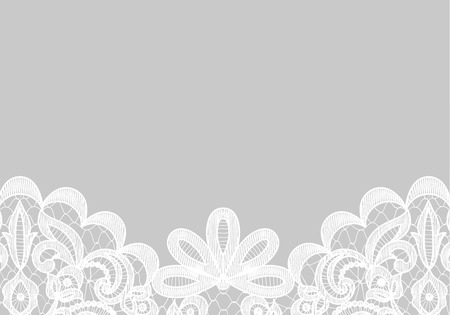 Illustration pour Wedding invitation or greeting card with lace border isolated on gray background - image libre de droit