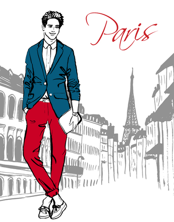 Illustration for Fashion illustration of man walking on street of Paris. Hand drawn ink sketch. - Royalty Free Image