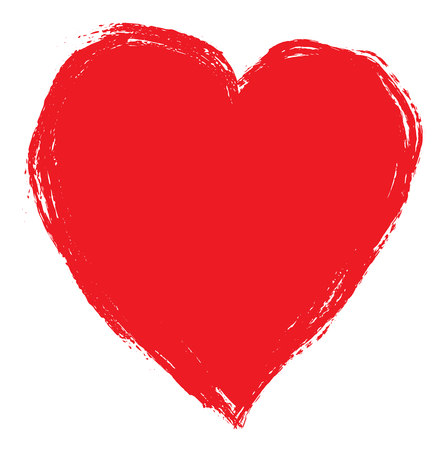Illustrazione per Hand drawing red heart isolated on white. Clip art - Immagini Royalty Free
