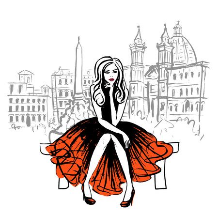 Ilustración de Artistic hand drawn sketch of woman sitting on bench in Rome, Italy - Imagen libre de derechos