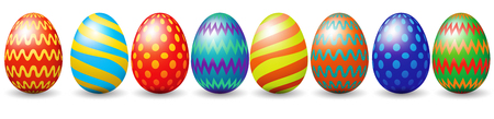 Illustration pour Row of easter eggs isolated on white - image libre de droit