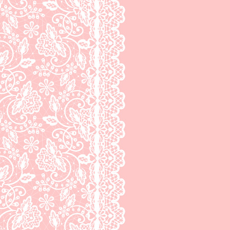 Illustration pour White lace with floral pattern and border on pink background - image libre de droit