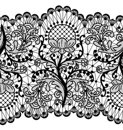 Illustration for Seamless floral lace border isolated on white - Royalty Free Image