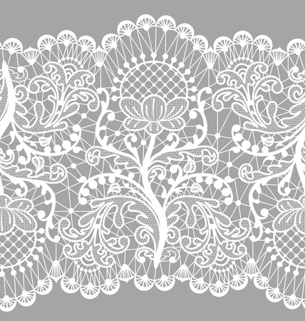 Illustration pour Seamless floral lace border on gray background - image libre de droit