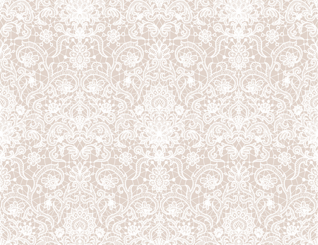 Illustration pour Seamless white lace background with floral pattern - image libre de droit