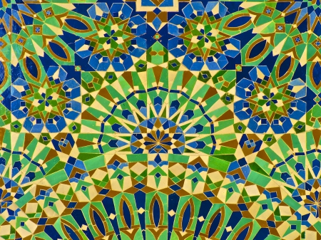Moroccan tile on the wall of mural